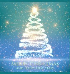 Shining christmas tree on blue vector