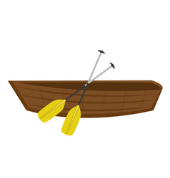 Wooden boat with paddles icon flat cartoon style vector
