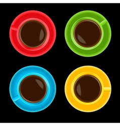 Colorful cups on black background vector image