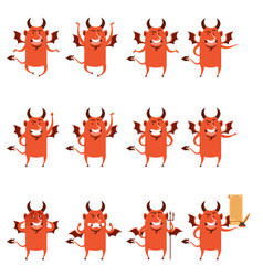 Set of devil flat icons vector
