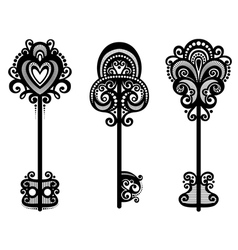 Set of vintage ornate keys vector