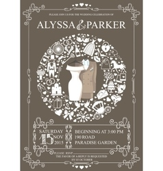 Wedding invitation with wreath compositionwear vector