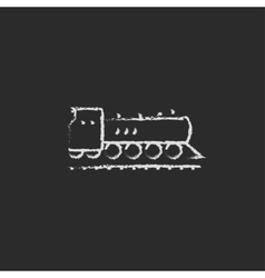 Train icon drawn in chalk vector