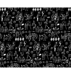 Office life black and white seamless pattern vector