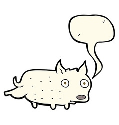 Cartoon little dog cocking leg with speech bubble vector