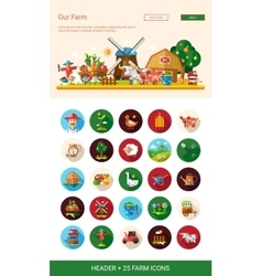 Flat design farm agriculture icons and elements vector