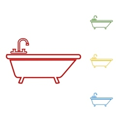 Bathtub line icon vector