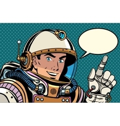 Astronaut pointing finger direction vector
