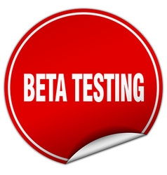 Beta testing round red sticker isolated on white vector