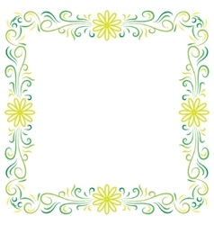 Doodle color abstract flower corner frame vector image