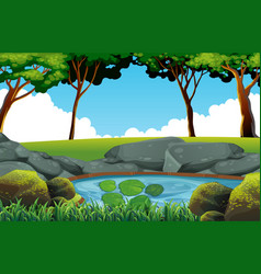 background scene with pond in the field vector image vector image