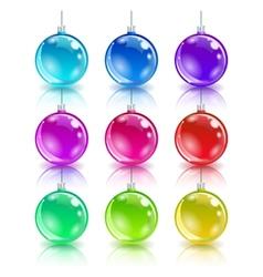Color christmas balls set vector image