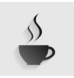 Cup of coffee sign Black paper with shadow on vector image vector image