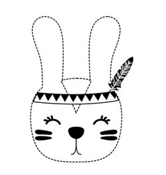 Dotted shape cute rabbit head animal with feathers vector