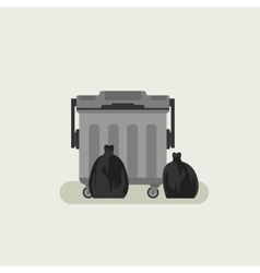 Dumpster with black garbage bags vector