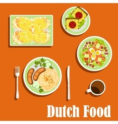 Dutch cuisine traditional dishes and snacks vector