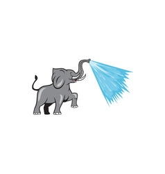 Elephant marching spraying water cartoon vector