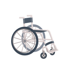 Flat cartoon lightweight metal wheelchair vector