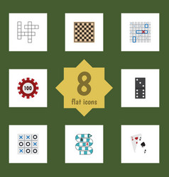 flat icon play set of chess table ace poker and vector image vector image