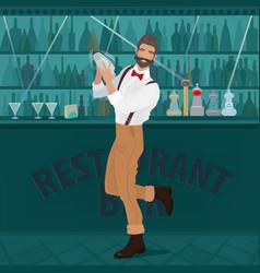 fun bartender hipster shakes the shaker vector image