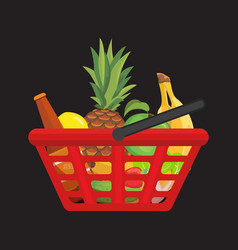 Fuul shopping basket with foods healthy organic vector