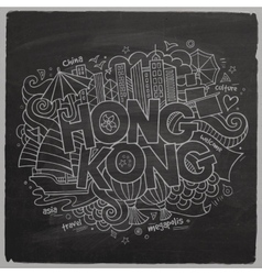 Hong kong hand lettering and doodles elements vector