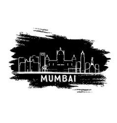 Mumbai india skyline silhouette hand drawn sketch vector
