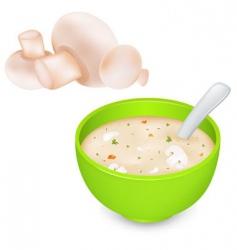 Mushroom cream soup and mushroom vector