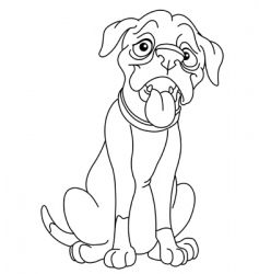 outlined boxer vector image