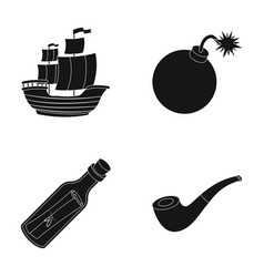 pirate bandit ship sail pirates set collection vector image vector image