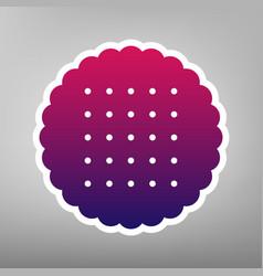 Round biscuit sign purple gradient icon vector
