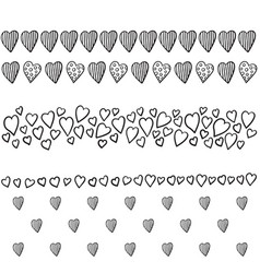 Set of borders with hearts vector