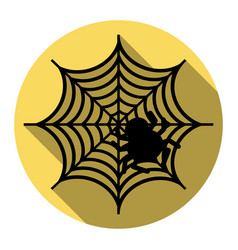 Spider on web flat black icon vector