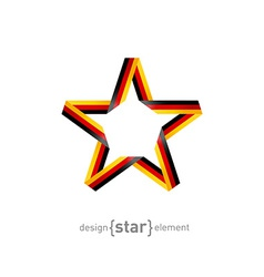 Star from ribbon with germany flag colors vector