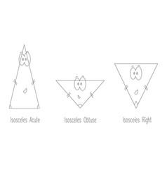 Types of isosceles triangle vector
