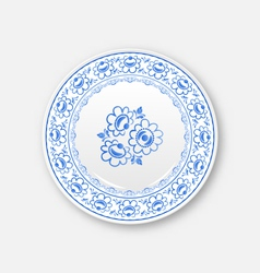 White plate with russian ornament in gzhel style vector