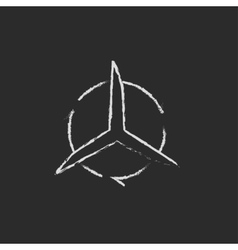 Windmill with arrows icon drawn in chalk vector