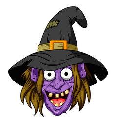 witch head cartoon vector image
