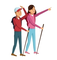 Young couple hiking with backpack walking sticks vector