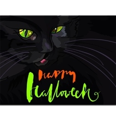 Halloween black cat with green eyes halloween vector