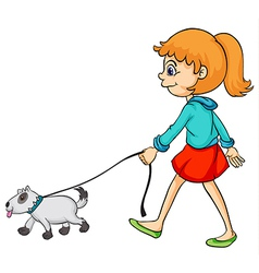 A smiling girl and dog vector