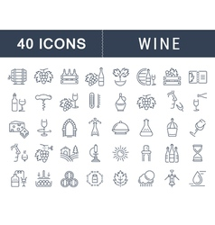 Wine line icons 6 vector