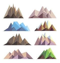 Mountains in polygon origami style elements vector