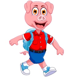Funny pig cartoon going to picnic vector