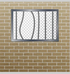 Prison window with bars and brick wall vector