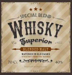 Whisky label for bottle vector