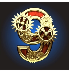 Wooden figure with gears vector