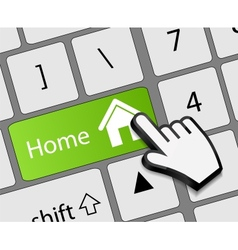 Keyboard home button with mouse hand cursor vector