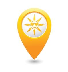 sun symbol yellow map pointer vector image