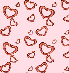 Seamless red heart pattern vector image